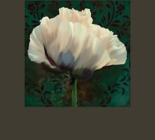 Poppy and Verdigris, dramatic cream poppy floral art Womens Fitted T-Shirt