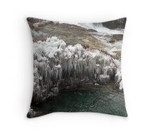 Plitvice Lakes Winter Throw Pillow