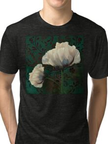 Poppies and Verdigris, dramatic cream poppy floral art Tri-blend T-Shirt