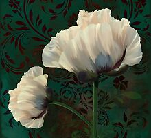 Poppies and Verdigris, dramatic cream poppy floral art by Glimmersmith