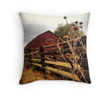 Weathered Fence Posts with Rustic Red Barn Throw Pillow