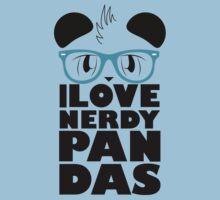 I Love Nerdy Pandas Kids Tee