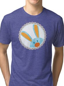 BUNNIES :: peeking circle 4 Tri-blend T-Shirt