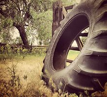 Tractor Tire Under Some Willow Trees by JULIENICOLEWEBB