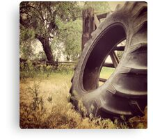 Tractor Tire Under Some Willow Trees Canvas Print