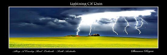 Lightning Of Ruin Panorama by Shannon Rogers