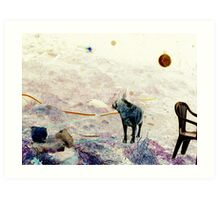 A boy, an orb and his dog Art Print