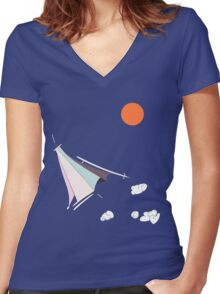 Paper Spaceship 1 Women's Fitted V-Neck T-Shirt