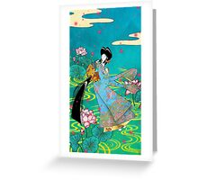 Japanese Woman - Lotus Greeting Card