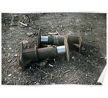 Railway buffers in scrapyard, UK, 1970s Poster