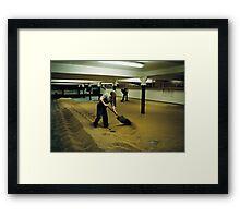 Maltsters turning malt in Langley Maltings, W. Midlands, 1980s Framed Print