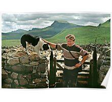 Scottish shepherd with dog, Isle of Skye, Scotland, UK, 1990s Poster