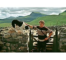 Scottish shepherd with dog, Isle of Skye, Scotland, UK, 1990s Photographic Print