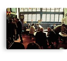 Busy lunch-time pub scene, Aylesbury, UK, 1980s Canvas Print