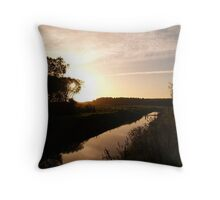sunset over water Throw Pillow