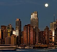 New York Night Cityscape Skyline over Hudson river by upthebanner