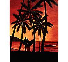 Surfers At Sunset Photographic Print
