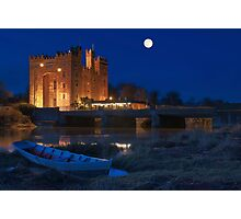 Irish Castle, Bunratty Castle at Night, County Clare, Ireland Photographic Print