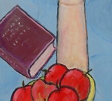 Vase Book and Apples by bvpainter