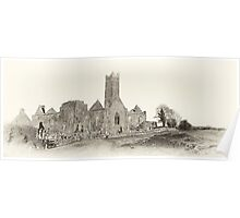 Quin Abbey, Panoramic, County Clare, Ireland Poster