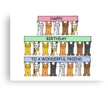 Cats celebrating the birthday of a wonderful friend. Canvas Print
