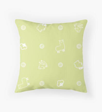 Yarnimals - Green Throw Pillow