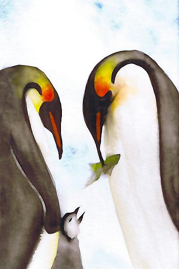 Penguin Family by exvista