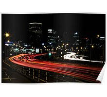 Freeway Light Trails Poster