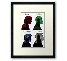 Sam & Dean & Cas & Crowley Framed Print