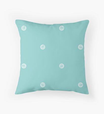 Blue Polka Dots of Yarn Throw Pillow