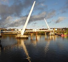 New Peace Bridge in constuction over river Foyle - Derry Ireland by mikequigley