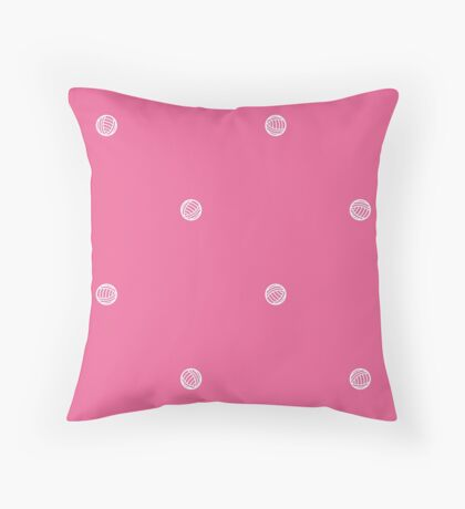 Pink Polka Dots of Yarn Throw Pillow