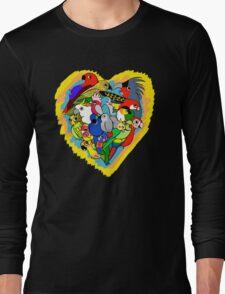 I heart parrots cute cartoon Long Sleeve T-Shirt