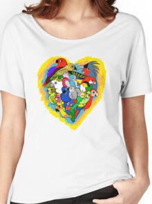 I heart parrots cute cartoon Women's Relaxed Fit T-Shirt