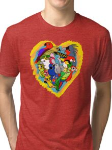 I heart parrots cute cartoon Tri-blend T-Shirt