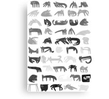 Fifty cats in greyscale Canvas Print