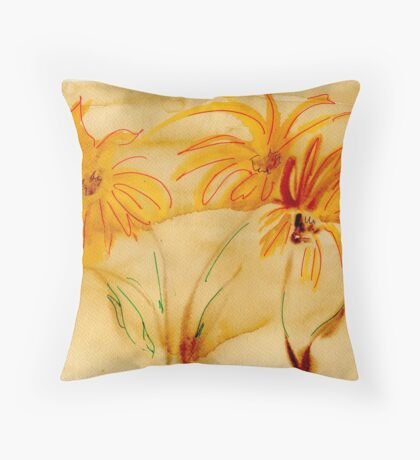 Flowers in Coffee Throw Pillow