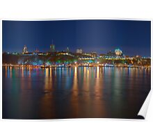 Night View of the Quebec City Skyline II Poster