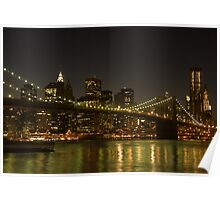 brooklyn bridge night reflections Poster