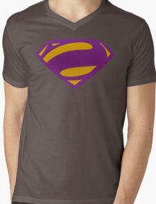 Man Of Steel Bizarro Purple Textured Logo Mens V-Neck T-Shirt