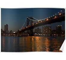manhattan bridge at night Poster