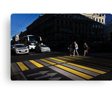 Crossing the street Canvas Print