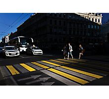 Crossing the street Photographic Print