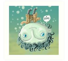 cute zombie in the water Art Print