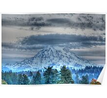 Mt Rainier in HDR Poster