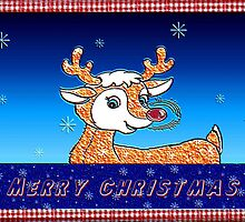 Merry Christmas - Rudolph by Lynda K Cole-Smith