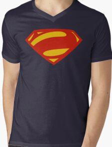 Man Of Steel Bizarro Red Logo Mens V-Neck T-Shirt