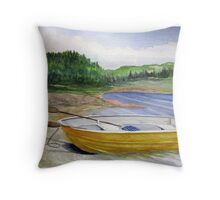 Yellow Row boat at Neys Provincial park - Ontario Throw Pillow