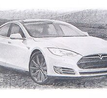 tesla p58d drawing by Mike Theuer