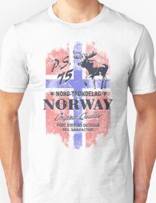 Moose - Norway Flag - Vintage Look Unisex T-Shirt